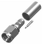 SMA MALE CRIMP PLUG, NICKEL, TEFLON<SUP>®</SUP>, GOLD PIN<BR>Fits:RG58/U & RG142/U Sizes